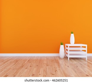 orange empty interior with a table and vases on it. 3d illustration