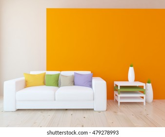 orange empty interior with a white sofa and colored pillows. 3d illustration