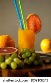 Orange energetic fresh with slice of grapefruit