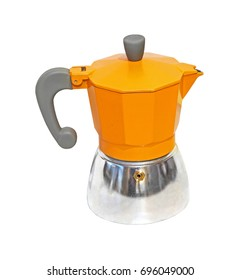 Orange espresso pot isolated with clipping path included