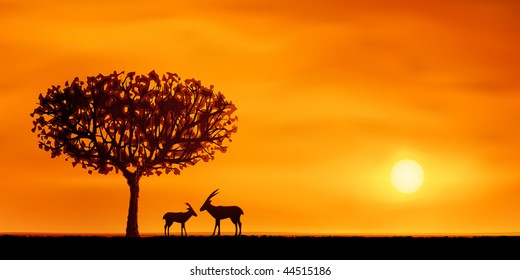 Orange evening savanna scenery with two antelopes (.EPS version id 43011805, other landscapes are in my gallery)