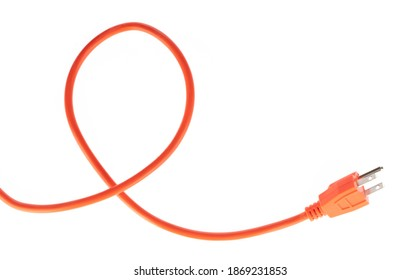 orange extension cord isolated on white background