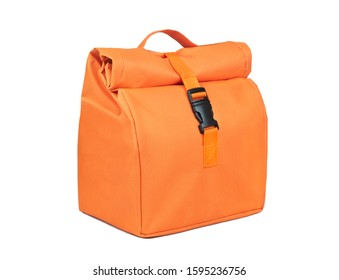 Orange fabric lunch bag isolated on white background