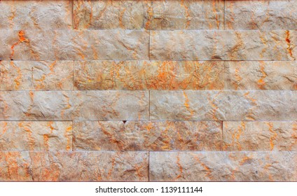 Orange facing stone, slate, sandstone and travertine marble texture