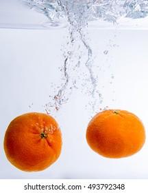 orange fall under water