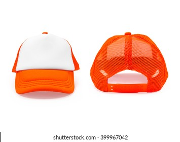 Orange fashion cap on isolated background. Sun protection sport hat for your brand and design.
