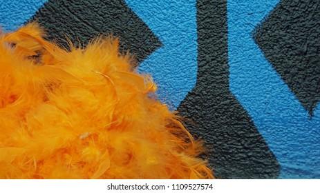 Orange feather texture against blue black background