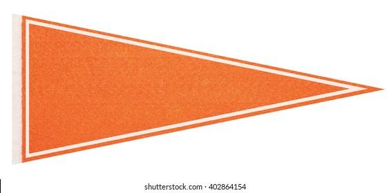 Orange felt pennant on a white background