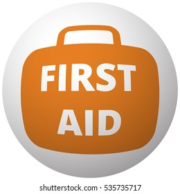 Orange First Aid Kit icon on sphere isolated on white background