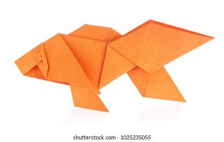 Orange fish of origami, isolated on white background.