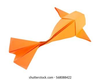 Orange fish of origami. Isolated on white background