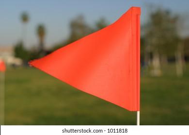 Orange flag on field
