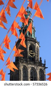 Orange flags (also used at King's day in Holland) in front of the Martinitoren at the world cup soccer.