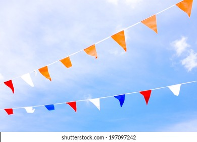 Orange flags, celebrating kingsday in the Netherlands