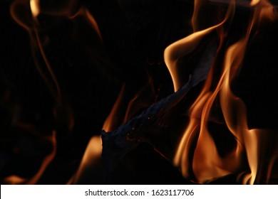 Orange Flames Against a Black Night Backdrop