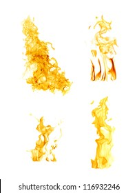 orange flames isolated on white background