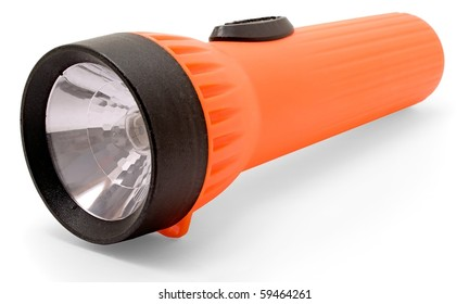 Orange flashlight on a white background