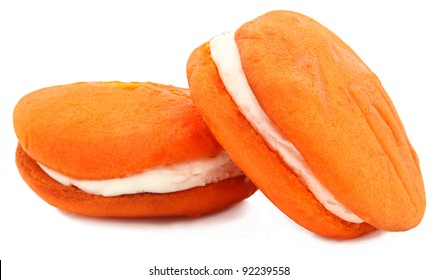 Orange Flavored Whoopie Pie Isolated On White Background
