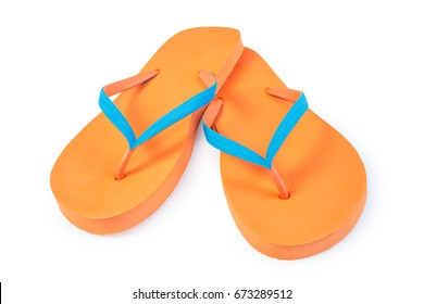 Orange Flip Flops Isolated On White Background. Front View
