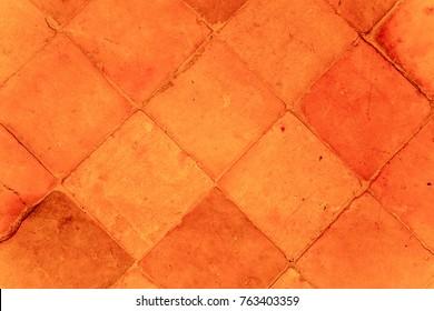 Orange floor tiles pattern.