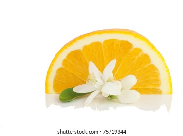 Orange, flower and slice.  Isolated on a white background.