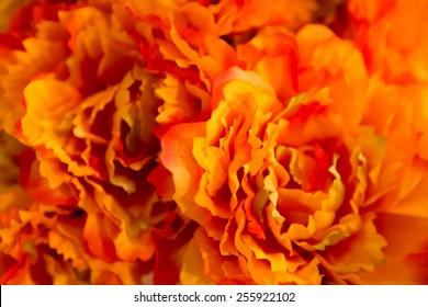 orange flowers made of fabric