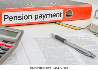 An orange folder with the label Pension payment