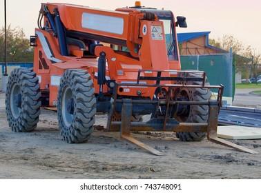 Orange fork lift