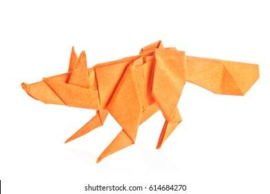 Orange fox of origami, isolated on white background.