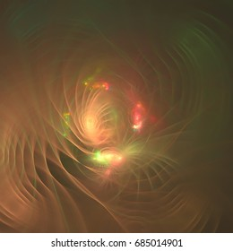 Orange Fractal with Light from the inside.Computer generated graphics