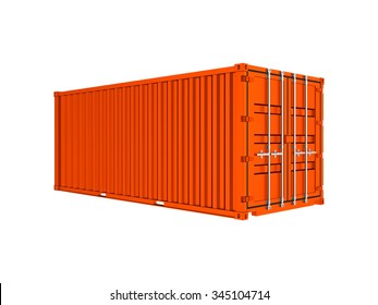 Orange freight shipping container isolated on a white background