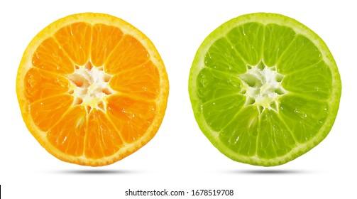 Orange fresh fruits cut half or orange slice segment isolated on white background. selective focus and orange and green tones