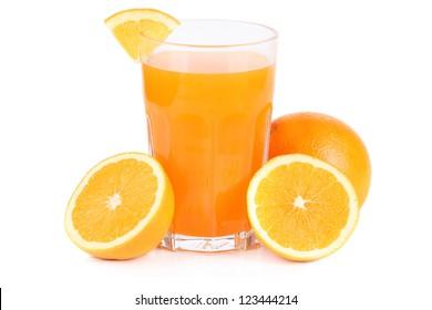 orange with fresh orange juice