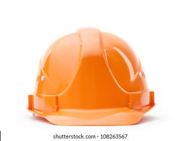 Orange fronted hard hat, isolated on white