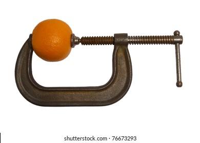 Orange fruit in a c clamp.