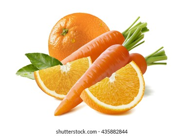 Orange fruit carrot composition isolated on white background as package design element
