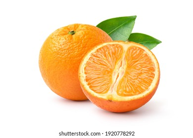 Orange fruit with cut in half isolated on white background.