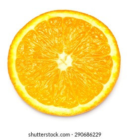 Orange fruit in a cut isolated on white background