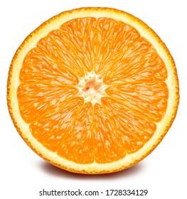 Orange fruit. Orange half isolated on white background. Orange with clipping path.