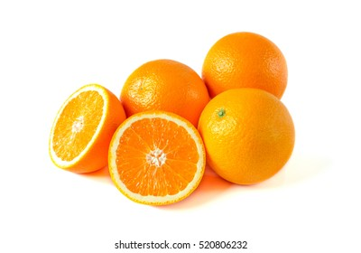Orange fruit with half isolated on white background.