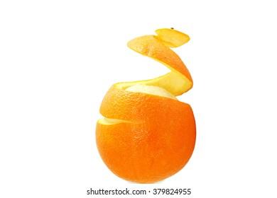 orange fruit half peeled spiral skin isolated on white background