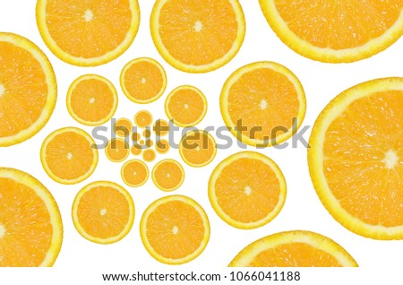 Orange Fruit Infinity Spiral Abstract Background Stock Photo