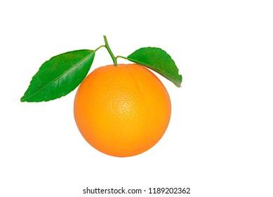 Orange fruit isolated on white background,mandarin with green leaf isolated on white background