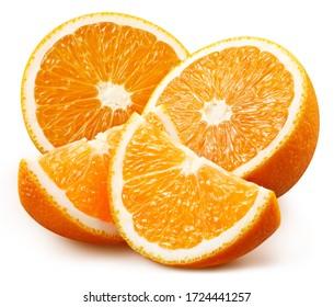Orange fruit. Orange isolated on white background. Orange clipping path.