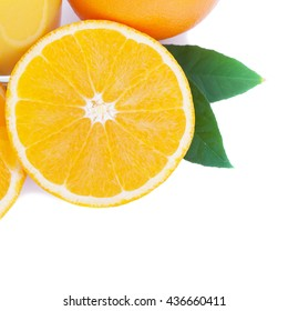 Orange fruit isolated on white background square