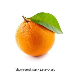Orange fruit with leaf isolated on white background