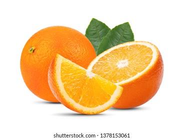orange fruit with leaf isolated on white background . full depth of field