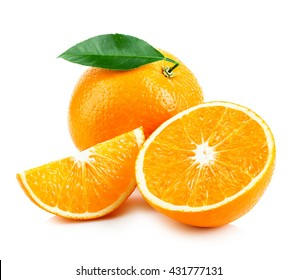 Orange fruit with leaf isolated on white background.