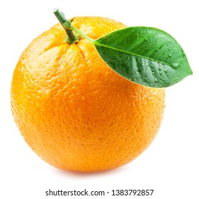 Orange fruit with orange leaf with water drops isolated on white background.