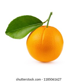 Orange fruit with orange leaves isolated on white background. With Clipping path.